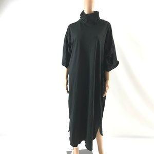 Asos Women's Dress 100% Cotton Curved Hem Black 16
